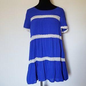 Entro Royal Blue Tunic w/ Cream Crochet Accents